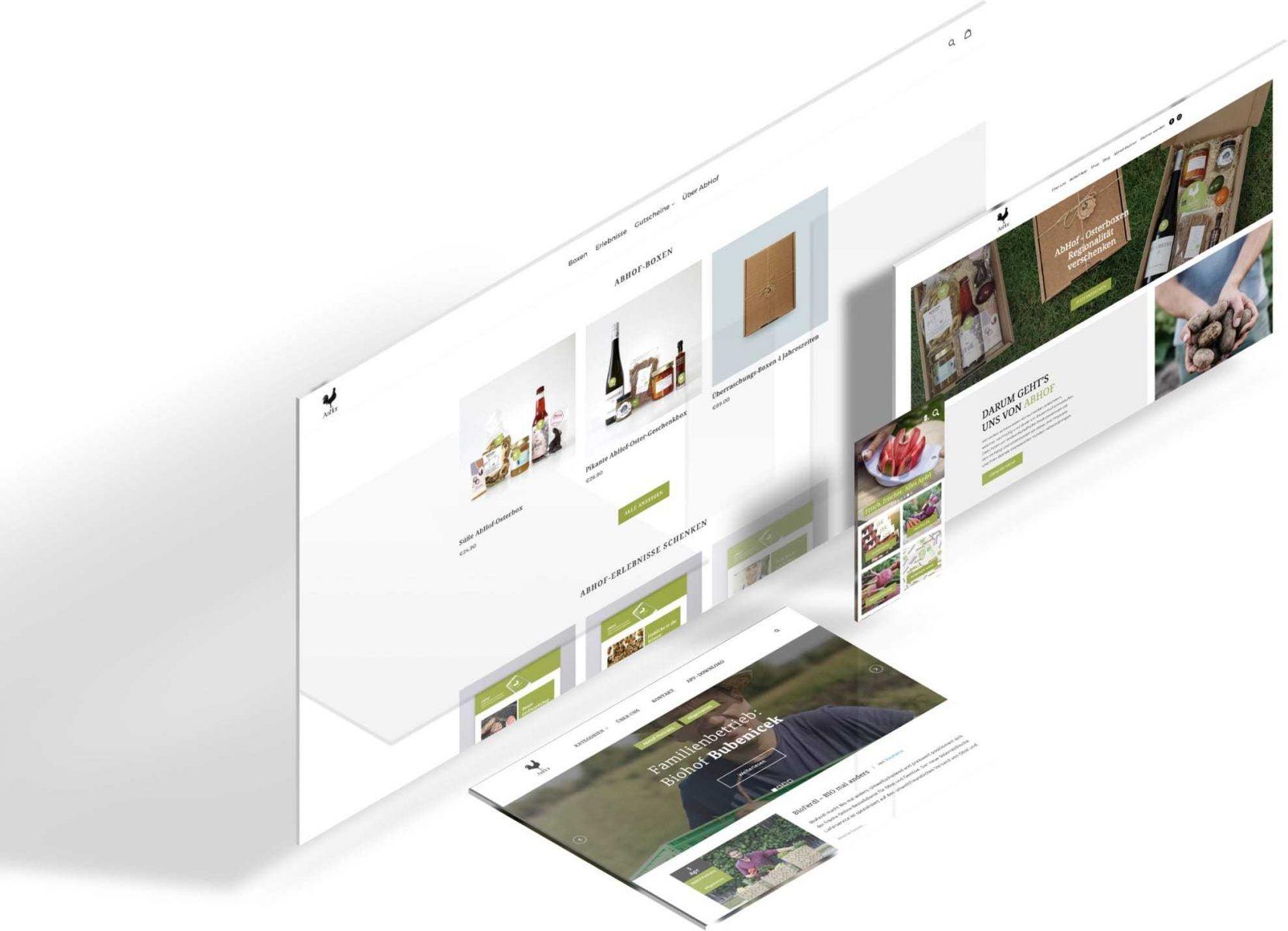 Die Ansicht der Abhof Website auf den verschiedenen Geräten wie Desktop, Tablet und Mobile