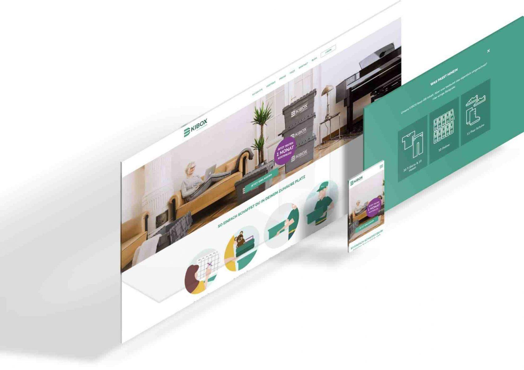 Die Ansicht der KIBOX Website auf den verschiedenen Gerätem um zu zeigen, dass das Design responsive ist