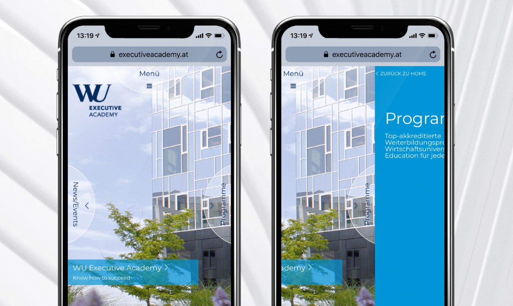 Das Hauptmenü der mobilen Website der WU Executive auf der alle 4 Menü punkte in den 4 Himmelsrichtungen zu sehen sind