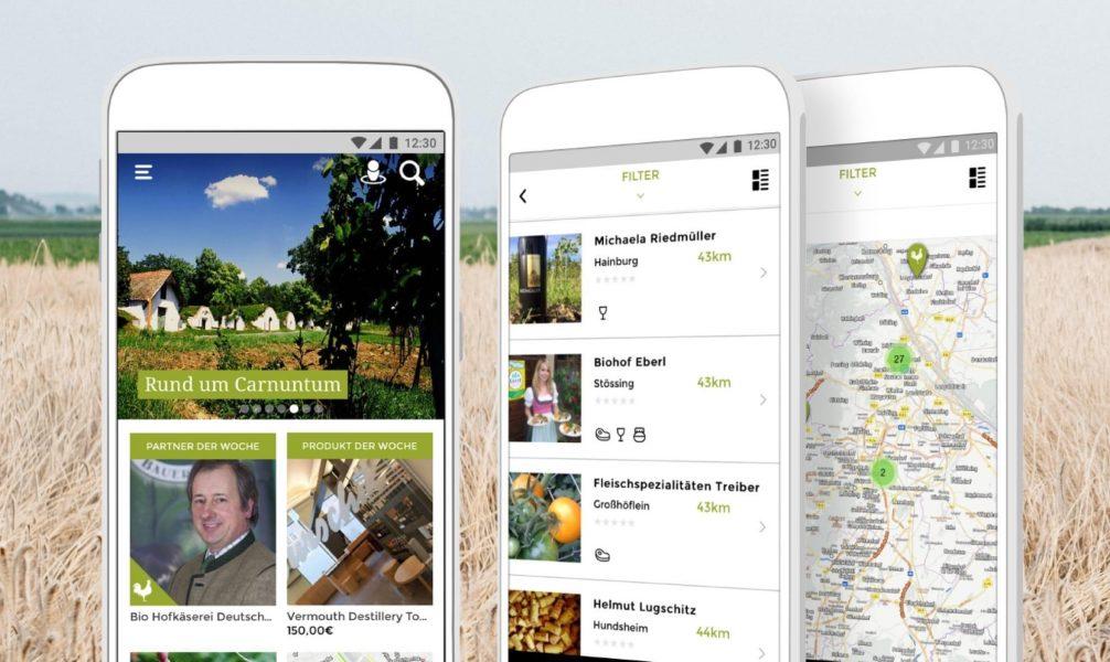 Ein Auszug aus der Abhof App wo alle Bauern aufgelistet werden bei denen man frische Lebensmittel kaufen kann